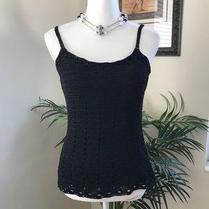 INC Black Glitter Silk Blend Crochet Top